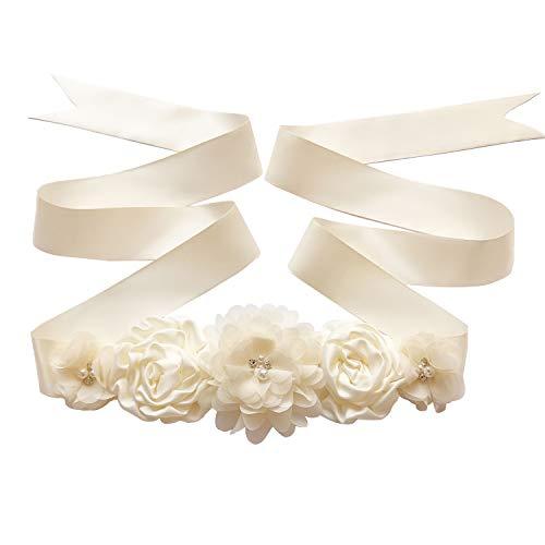 Maternity Sash Belt with Flower, Floral Baby Shower Belly Sash, Flower Girl Sash, Pregnancy Sash Belt for Photography (B-Ivory white)