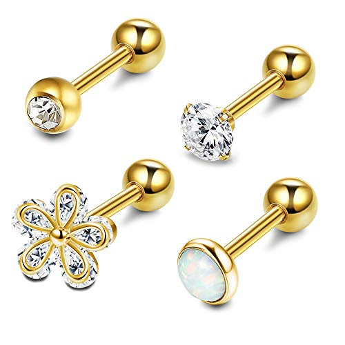 LOYALLOOK 4Pcs CZ Barbell Helix Piecing Cartilage Earring Stainless Steel Nose Lip Studs Opal Tragus Body Piercing Jewelry 16G Gold-Tone