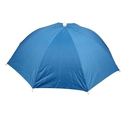 eDealMax Pesca deportes al aire Libre Campo Cinta elástica Doblado paraguas Sombrero Azul