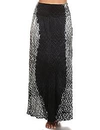 Maxi Skirt Black White Slimming Print Soft Rayon