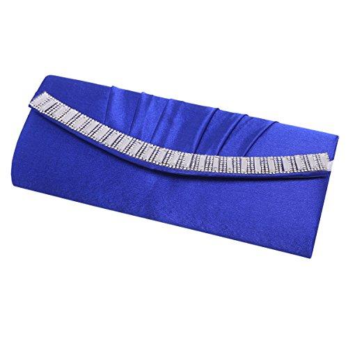 Party Pleated Blue Damara Handbag Wedding Satin Bags Crystal Evening Womens OPqPHa1