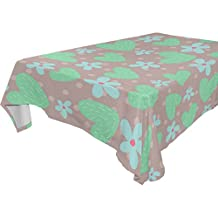 Yuihome Single Face Navy Heart Polyester Tablecloths 60 x 120 Inches Rectangle & Oblong Blue Floral Table Top Decoration
