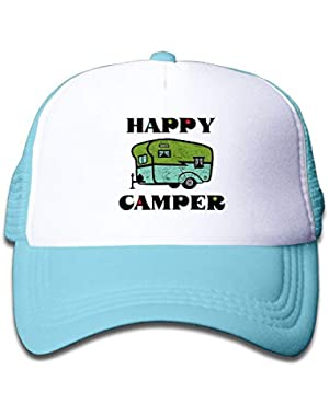 Happy Camper Kids Boys Girls Baseball Caps Mesh Hats