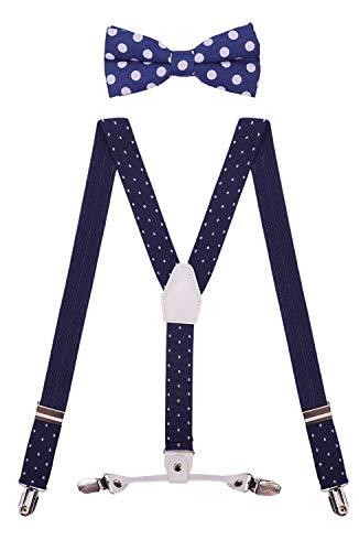 CEAJOO Girls Suspenders Adjustable with Polka Dot Bow Tie Set 30