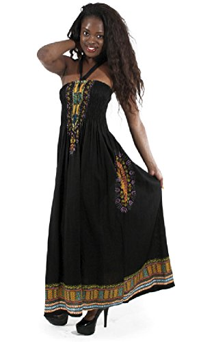 African Dresses Inspired (Long Traditional African Print Tube Dress - Available in Many Colors (Black))