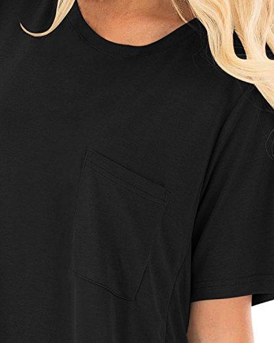 Casual Dress T Crisscross Back Shirt Sleeve CNFIO X Women's Summer Dresses Sexy black Short Bwcf0xC