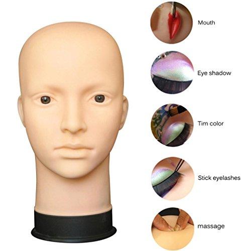 80s Style Makeup (Head Model, Hatop Mannequin Flat Head Practice Make Up Massage Training Model Eyelash Extensions)