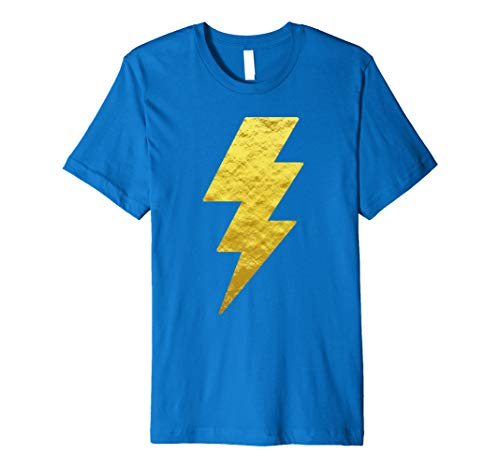 Lightning Bolt Tshirt Gold Foil Casual Unisex Print Tee Top