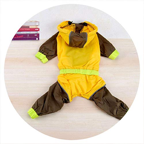 - PG-One Waterproof Dog Raincoat Coveralls for Dogs Pet Clothes Hoodies Pet Jumpsuit Suitable for All Kinds of Large Small Dog,Yellow,8