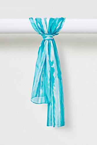 Two-Color Light Sprays Pure Smooth Silk Chiffon Scarf in Teal by Louis Jane  (''Where Nature Meets Art''TM)