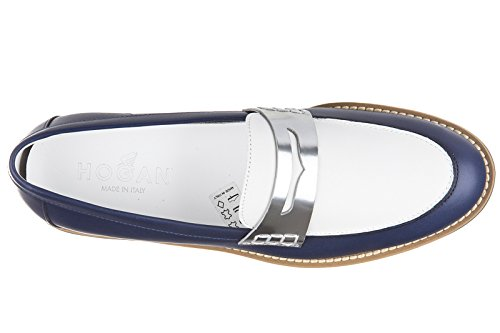 Hogan mocassini donna in pelle originale rute traversina blu