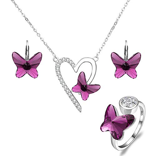 EleQueen 925 Sterling Silver Love Heart Butterfly Purple Made with Swarovski Crystals Pendant Necklace Stud Earrings Ring Set