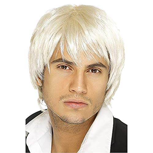 JYS Mens Short Wavy Straigh Wig Mature Style Synthetic Cosplay Hair Wigs For Men Male Cosplay Halloween Party Hair Wigs -