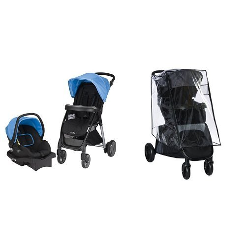 Evenflo Princeton Travel System with Serenade, Sky Blue with Stroller Weather Shield & Rain Cover