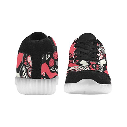 Interestprint Dag Van De Dead Light Up Schoenen Knipperende Sneakers Casual Platte Schoenen Voor Dames