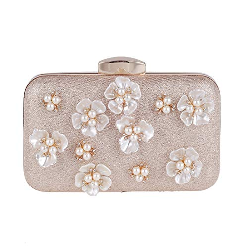 Fly Dress Clutch Bag Bag Korean Version Fashion New Square The Bag Small Bag Pearl Flower Diagonal Dress Women's Champagne Bag Evening Dinner axragw