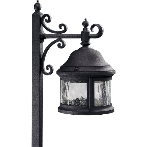 Progress Lighting P5250-31 1-Light Path Light in Cast Aluminum Combines with Water-Seeded Glass, Black