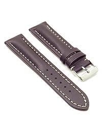 DASSARI Transit Dark Brown Smooth Leather Watch Band for BREITLING 22/20 22mm