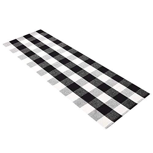 Ukeler Cotton Handmade Buffalo Checkered Kitchen Rugs Runner Washable Braided Kitchen Mat Black and White Plaid Runner Rug for Living Room/Bedroom 2'×6' ()