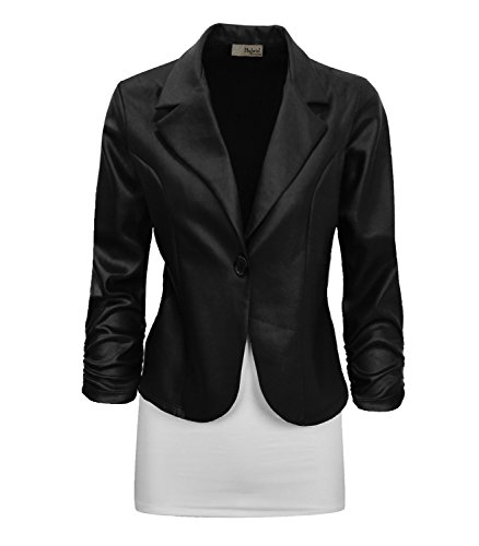 Womens Vegan Leather Work Office Blazer Jacket JK1131X 5249 BLACK 2X