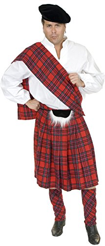 New Adult 34-36 Red Scottish Kilt Highlander Costume