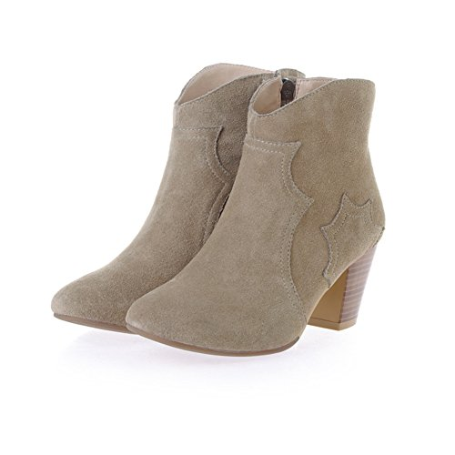 Seven Ankle Round Boot Womens Nude Nine with Chunky Suede Heel Zip Dress Tone Booties Side pTY1dYqnx