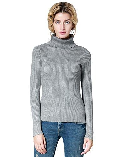 ninovino Women's Turtleneck Ribbed Long Sleeve Pullovers Sweater Gray-M (Womens Ribbed Turtleneck)