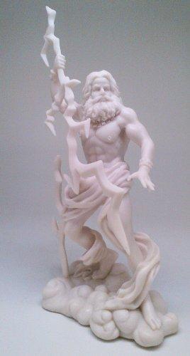 King Of The Greek Olympian Gods Zeus Jupiter Statue With Lightning Bolt