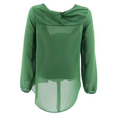 Verde Lunga Netgozio Collana Manica Con Chiffon Girocollo Camicia Maglia Donna Elegante Blusa OwPvqfA