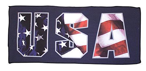 (Devant Sport Towels USA Americana Series Microfiber Golf Towel, White, 16 x 32)