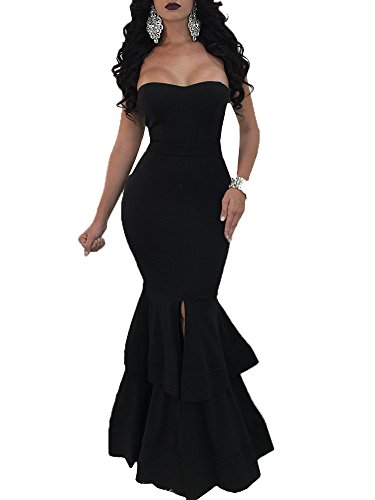 Bigyonger Womens Sexy Strapless Slit Gown Dresses Bodycon Bandeau Fishtail Party Long (Black Strapless Prom Dress)