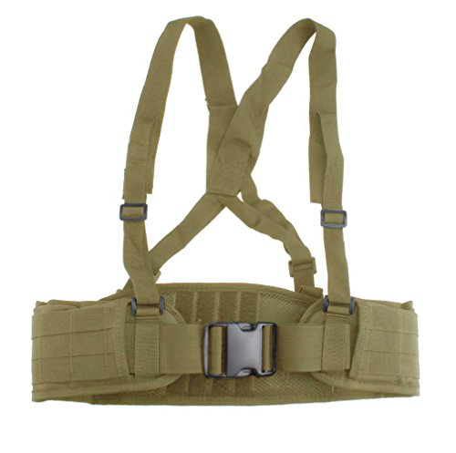 FAMI Tactical Battle Combat Airsoft Padded Equipment Molle Waist Belt with Adjustable Suspenders Free Straps for Patrol Army Training Outdoors Duty - Tan