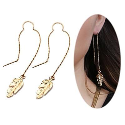 Threader Drop Earring Dangle Ear Long Bar Chandelier Tassel Chain Retro Triangle Crystal Ear Line Jewelry