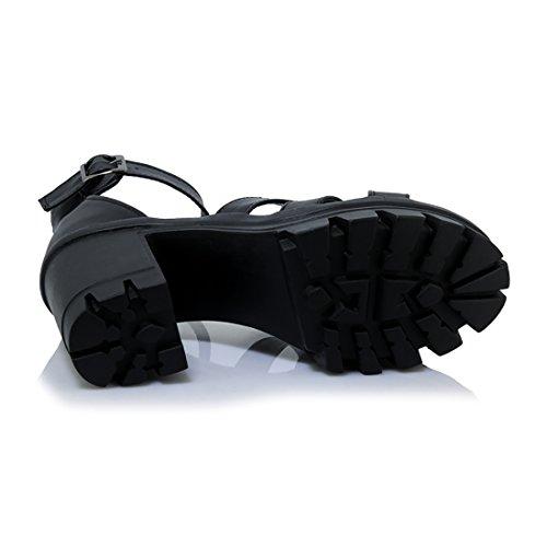 Bout Bloc Ouvert et Talons Sandales UH Gladiateur Haut avec Plateforme à avec Femmes Confortables Mode en Boucles Noir wvYqHxqfz