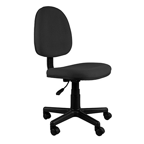 Emall Life Mid-back Desk Chair 360° Adjustable Swivel Office Chair Armless Fabric (Black Fabric Kneeling Chair)