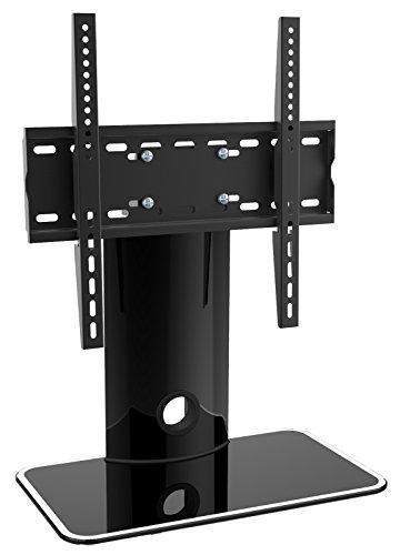 RICOO LCD TV Ständer Fernsehtisch Standfuss Glas Standfuß Halterung FS303B Fernsehstand LED Fernseher Stand Flachbildschirm Aufsatz Möbel Rack VESA 400x400 Universal | inkl. Kabelführung |
