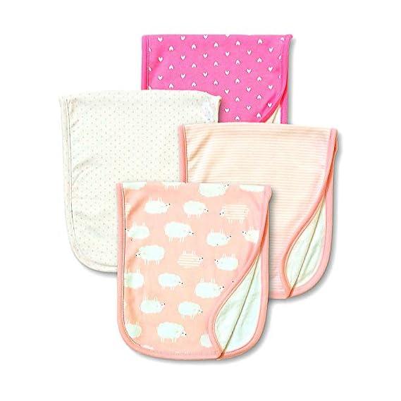 TuddyBuddy 100% Cotton Terry Burp Cloths Towel Napkins for Babies, Baby Burpies, One Size - Pack of 4 - (Giraffe)