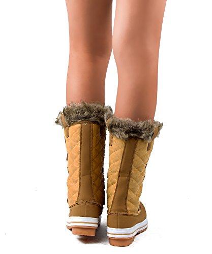 RF ZIMMER DER MODE Frauen Mid Kalb Arctic Warmer Pelz Shearling Lined Steppmuster Wasserabweisend Eskimo Snow Boots Neue Tan