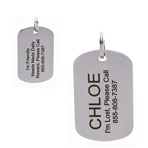 Stainless Steel Pet ID Tags - Engraved Personalized Dog Tags, Cat Tags Front & Back up to 8 Lines of Text – Bone, Round, Heart, Flower, Badge, House, Star, Rectangle, Bow Tie
