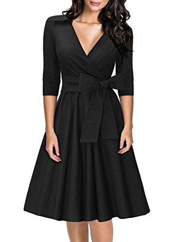 Miusol Damen Elegant 3/4 Ärmel V-Ausschnitt 40er Retro Cocktailkleid RockabillyParty Kleid E-schwarz w4gZ9OFCH7