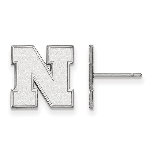 14k White Gold LogoArt Official Licensed Collegiate University of Nebraska (UNK) Small Earrings Post by LogoArt