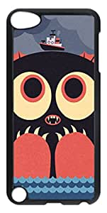 Cute Case Back Cover Case for iPod Touch 5 Covered by Cute Sea Monsters,Black Hard Case Shell for iPod Touch 5 5th