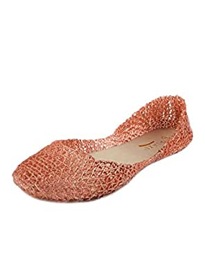 Glaze Women's Classic Comfortable Jelly Ballet Flat Design Bird Nest Layered Lines Sandals [Size 6, 7, 8, 9, 10] Pink Size: 7