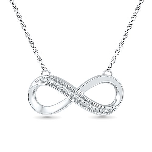 Sterling Silver Round Diamond Infinity Necklace (0.04 Cttw) (Infinity Diamond Gold Necklace)