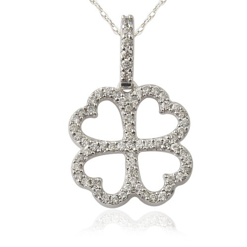 (TriJewels Diamond 4 Leaf Clover Pendant 0.25 ctw in 14K White Gold with 18 Inches 14K White Gold)