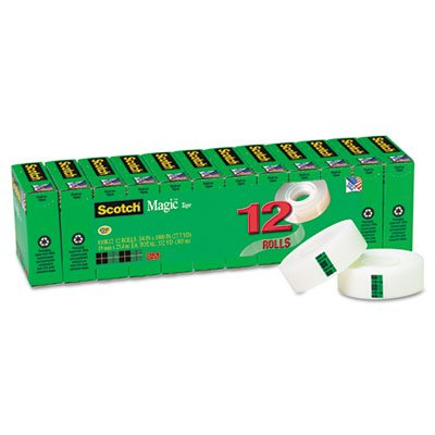 Magic Office Tape Refills, 3/4'' x 1000'' Roll, Clear, 12/Pack, Sold as 1 Package, 12 Roll per Package by Scotch (Image #7)