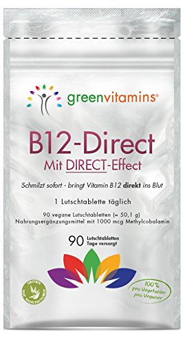B12 Vitamin komplex hochdosiert mit Methylcobalamin 1000 mcg pro vegane Lutschtabletten für eine sublinguale Aufnahme ohne Spritze. B12-Direct 90 Tabletten mit Erdbeergeschmack von greenvitamins
