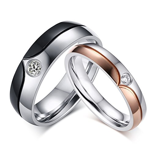 Mens Womens Couples Stainless Steel Wedding Ring Black Rose Gold Cubic Zirconia Engagement Promise Band for Him and Her ()