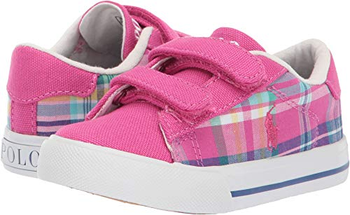 Polo Ralph Lauren Kids Baby Girl's Easten II EZ (Toddler) Sport Pink/Madras Plaid/Canvas/White Pony 8 M US Toddler