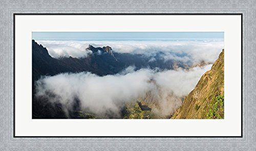 Santo Antao Cape (High angle view of clouds in the valley, Santo Antao, Cape Verde by Panoramic Images Framed Art Print Wall Picture, Flat Silver Frame, 34 x 20 inches)